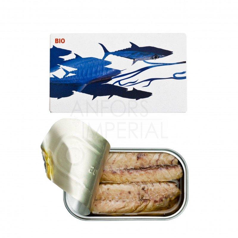 Pittige makreel in extra vierge biologische olijfolie
